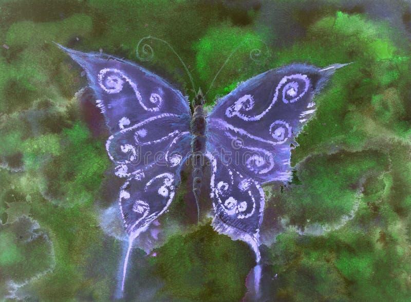 蝴蝶在蓝色树荫下反对绿色背景的在晚上 向量例证