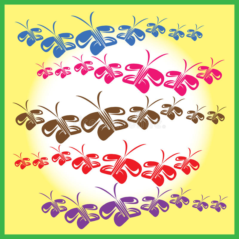 蝴蝶多个链子在他们的飞行的 皇族释放例证
