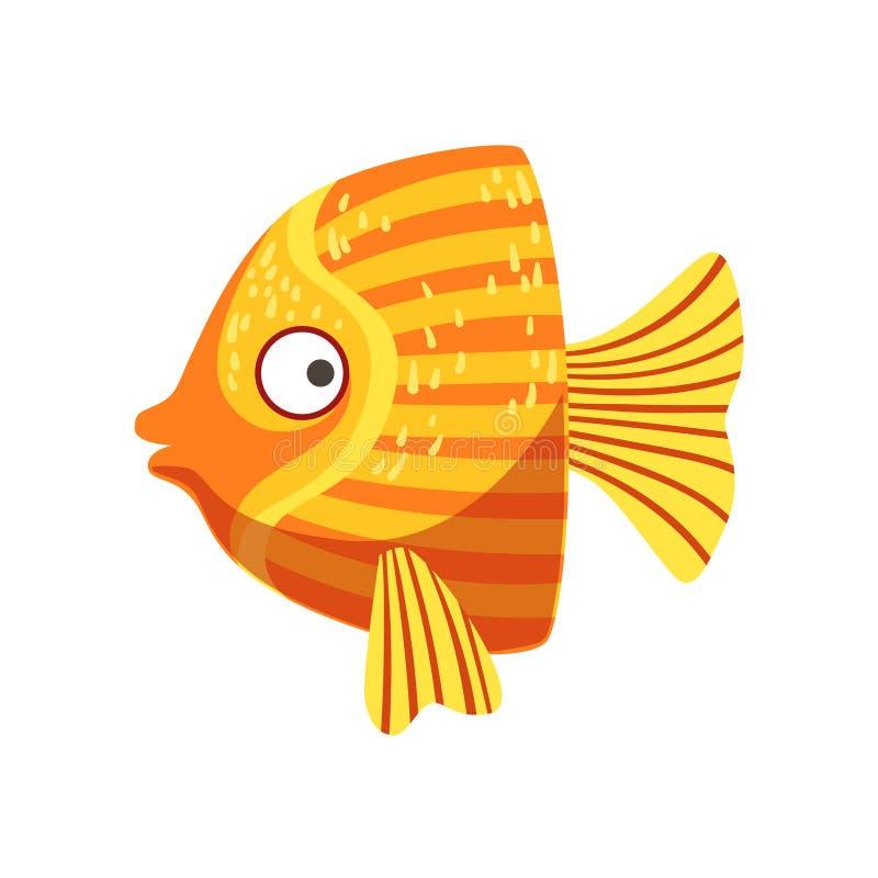 蝴蝶橙色和黄色意想不到的五颜六色的水族馆鱼,热带礁石水生动物 皇族释放例证