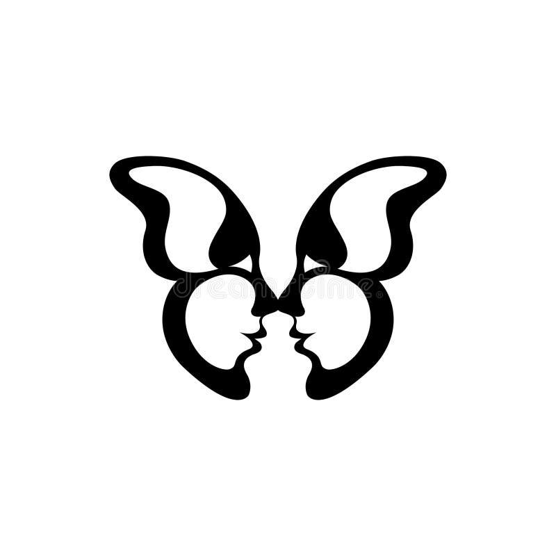 蝴蝶的向量图象 两张亲吻的面孔 皇族释放例证