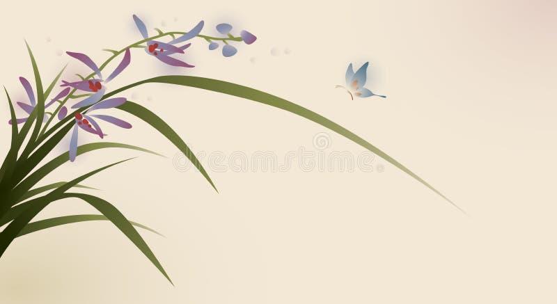 蝶粉花东方绘画样式 库存例证