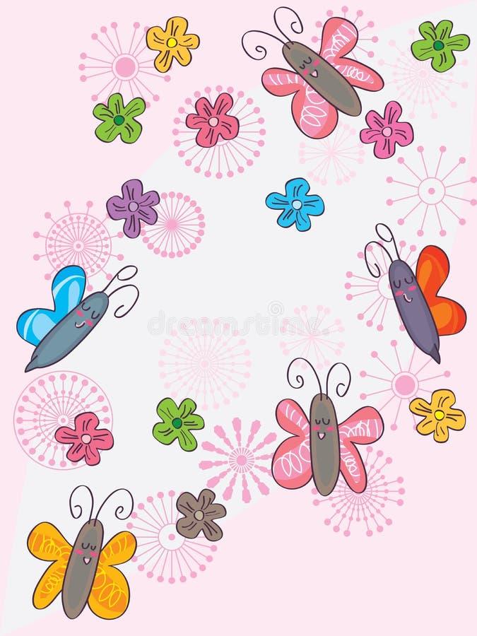 蝶粉花开花飞行 向量例证