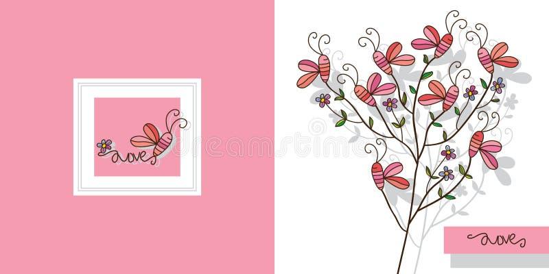 蝶粉花植物装饰 向量例证