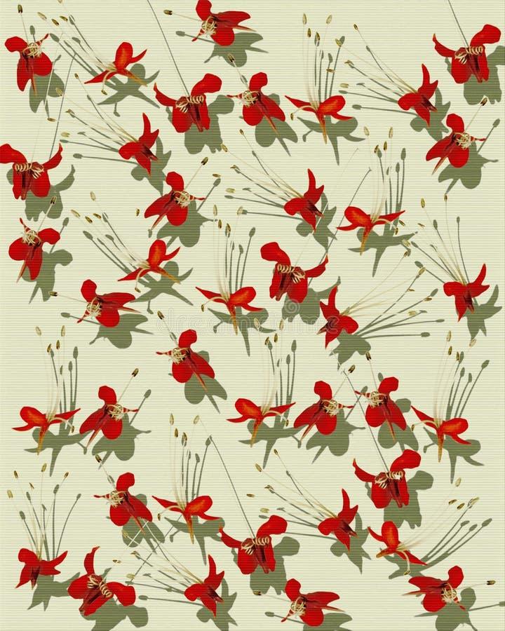 蝶粉花纸张被取笑的打印红色 皇族释放例证