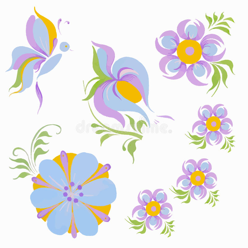 蝶粉花蓝色紫色桔子 免版税图库摄影