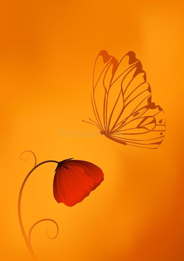 蝶粉花鸦片红色 向量例证