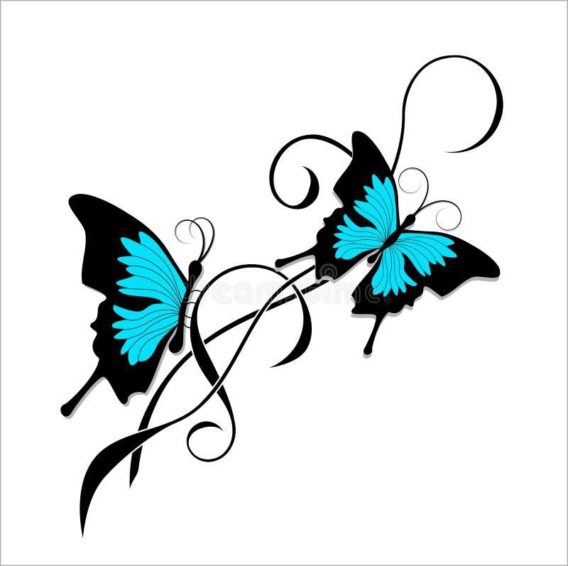 蝴蝶纹身花刺黑色蓝色部族 库存例证