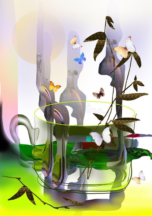 蝴蝶茶杯用绿茶,拼贴画和植物 库存例证