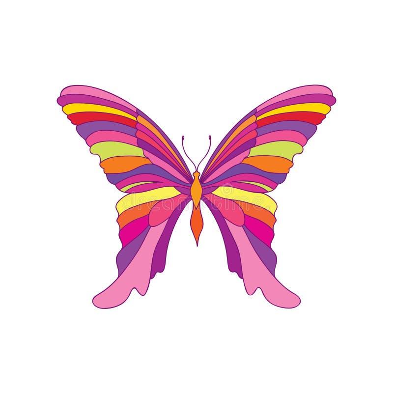 蝴蝶被隔绝在白色背景 意想不到的热带昆虫Hawaiin自然设计元素 向量例证
