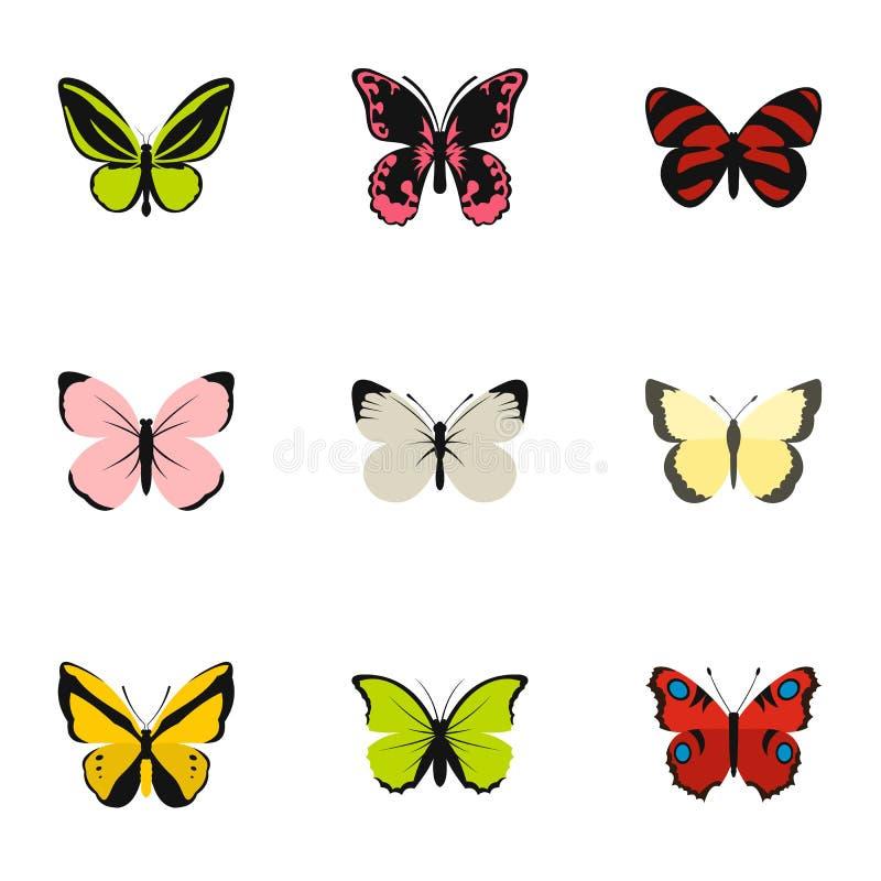 蝴蝶象的类型设置了,平的样式 向量例证
