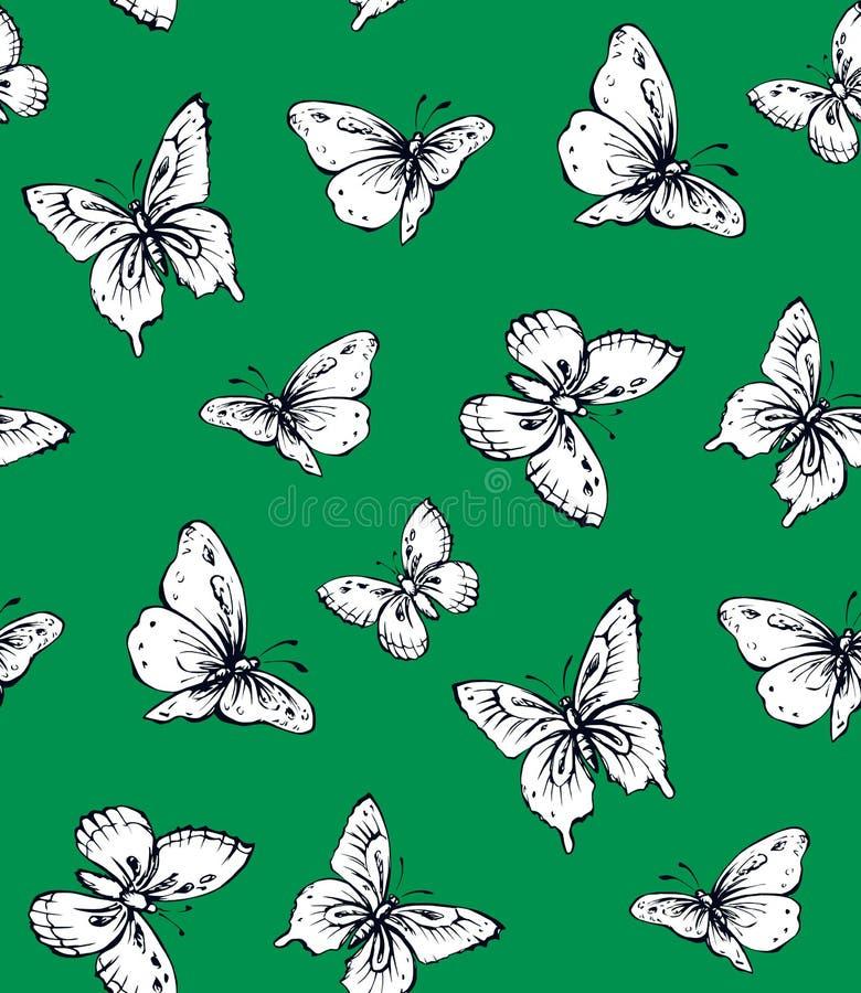 tileable设计样式笔的徒手画的线性贷方手拉的商标在纸 看法接近 蝴蝶