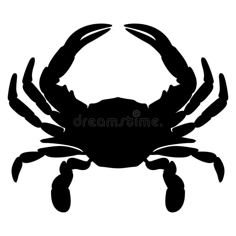 螃蟹剪影被隔绝的传染媒介例证 免版税库存照片