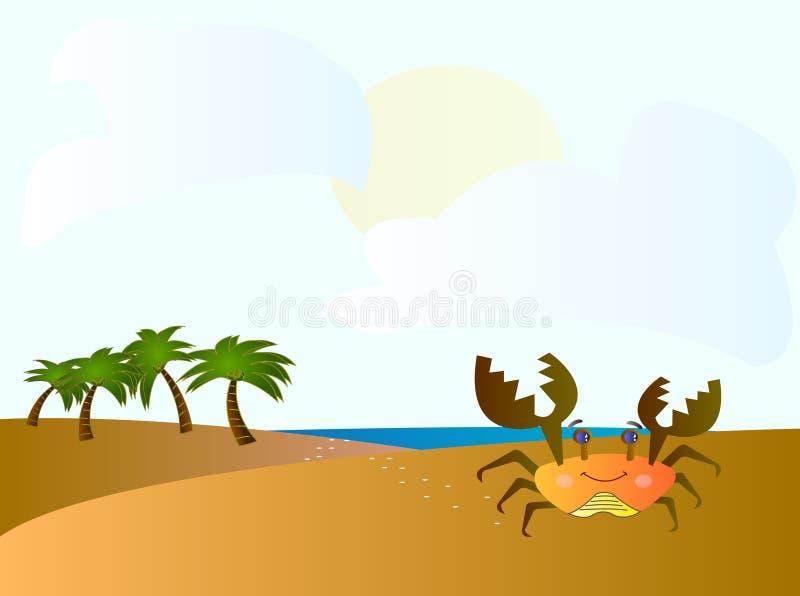 螃蟹动画片例证 免版税库存照片