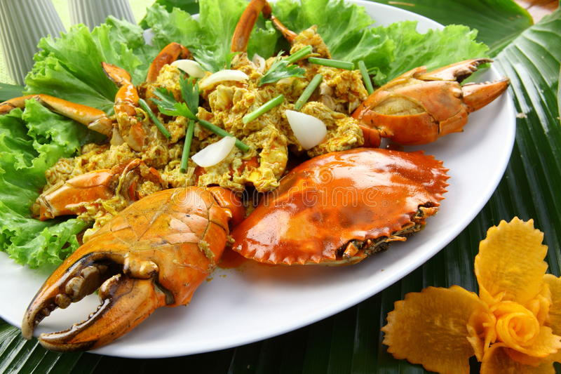 螃蟹咖喱粉黄色 库存照片
