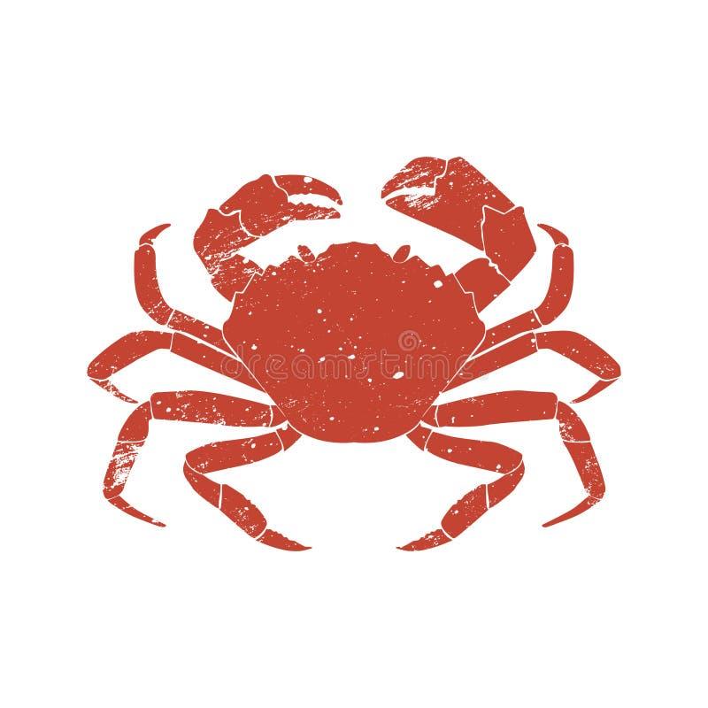 螃蟹在白色背景隔绝的难看的东西剪影 皇族释放例证