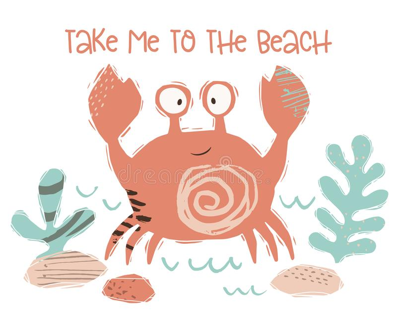 螃蟹婴孩逗人喜爱的印刷品 甜海洋动物 驯服对海滩-文本口号 向量例证