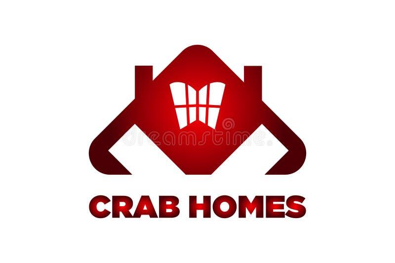 螃蟹家恐怖红色螃蟹商标设计 库存图片