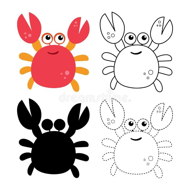 螃蟹活页练习题传染媒介设计 库存例证
