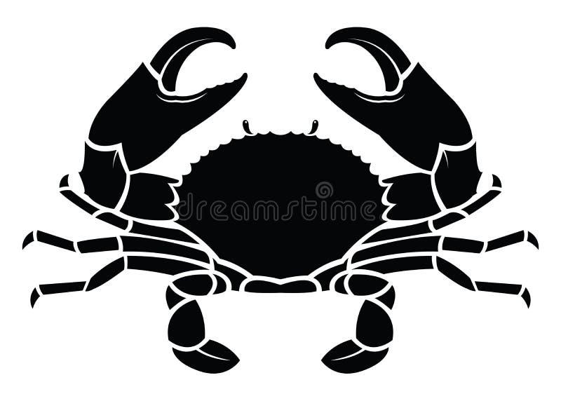 螃蟹海洋动物剪影 向量例证
