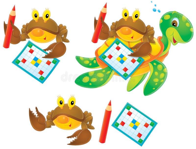 螃蟹纵横填字谜乌龟 皇族释放例证