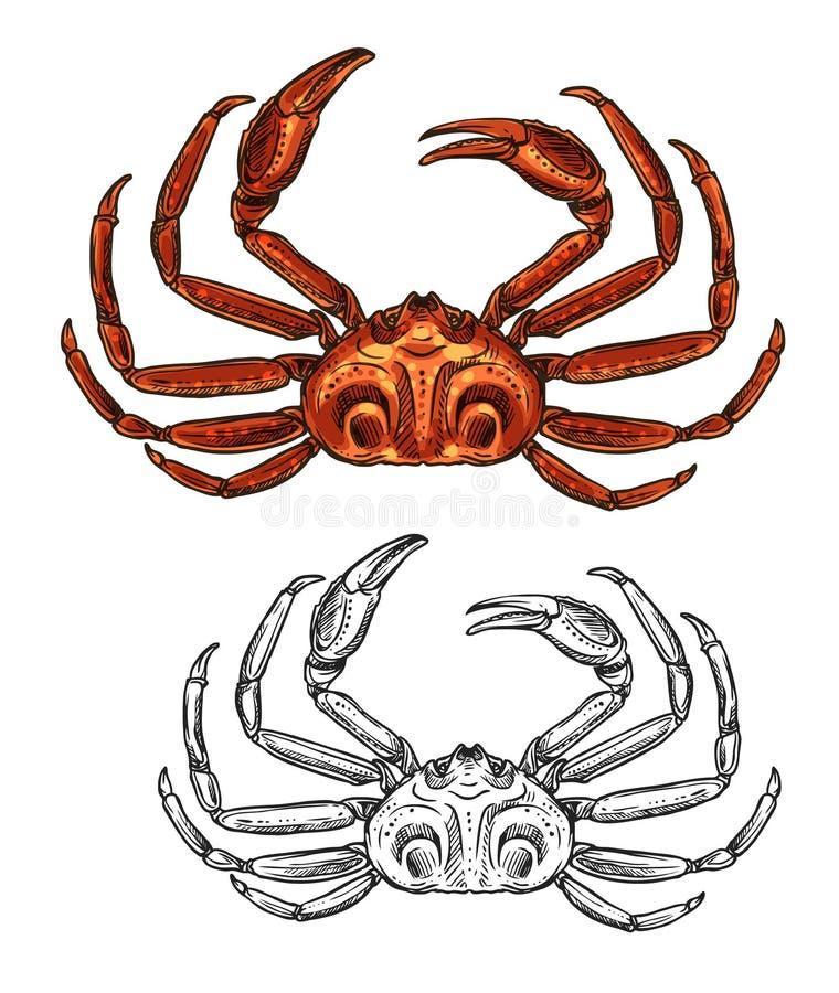 螃蟹被隔绝的海鲜和渔场剪影象 皇族释放例证