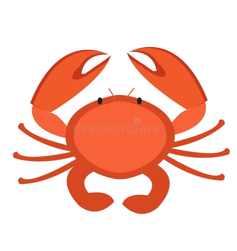 螃蟹象平的样式 背景查出的白色 传染媒介例证,剪贴美术 库存例证