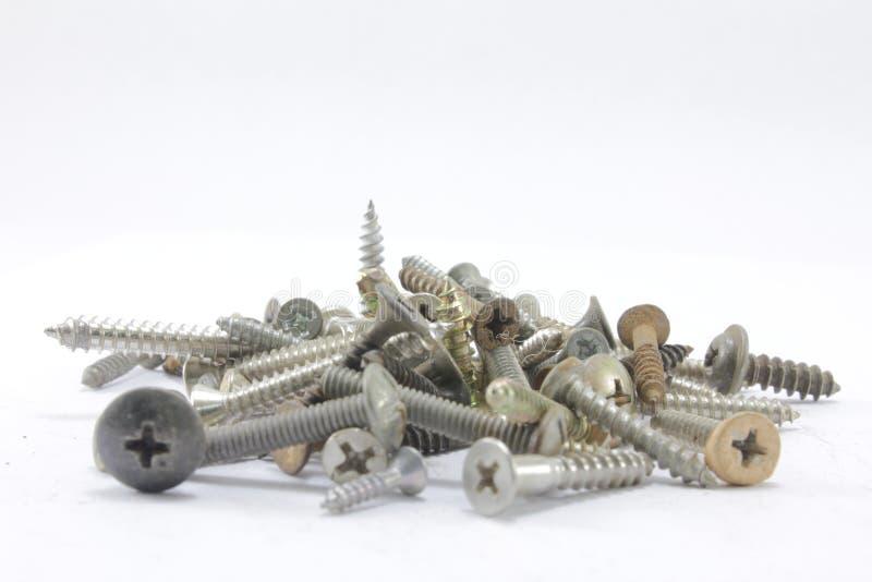 螺丝、坚果、螺栓和钉子 库存图片