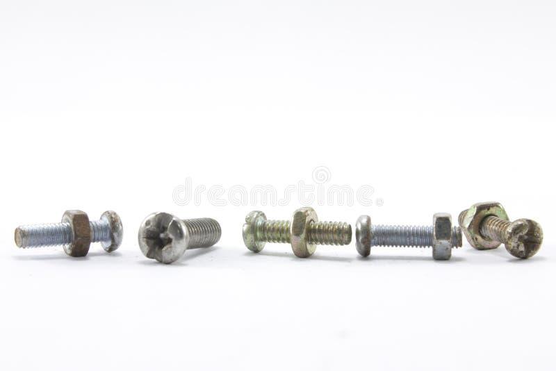 螺丝、坚果、螺栓和钉子 免版税图库摄影