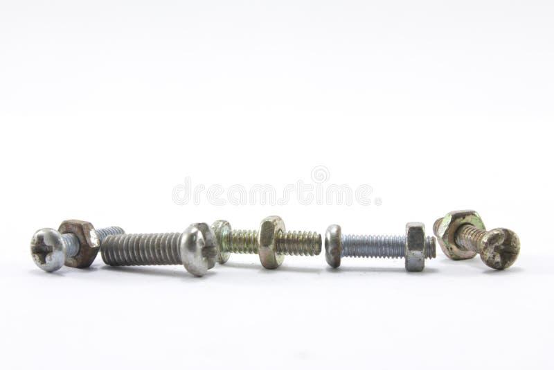 螺丝、坚果、螺栓和钉子 免版税库存照片