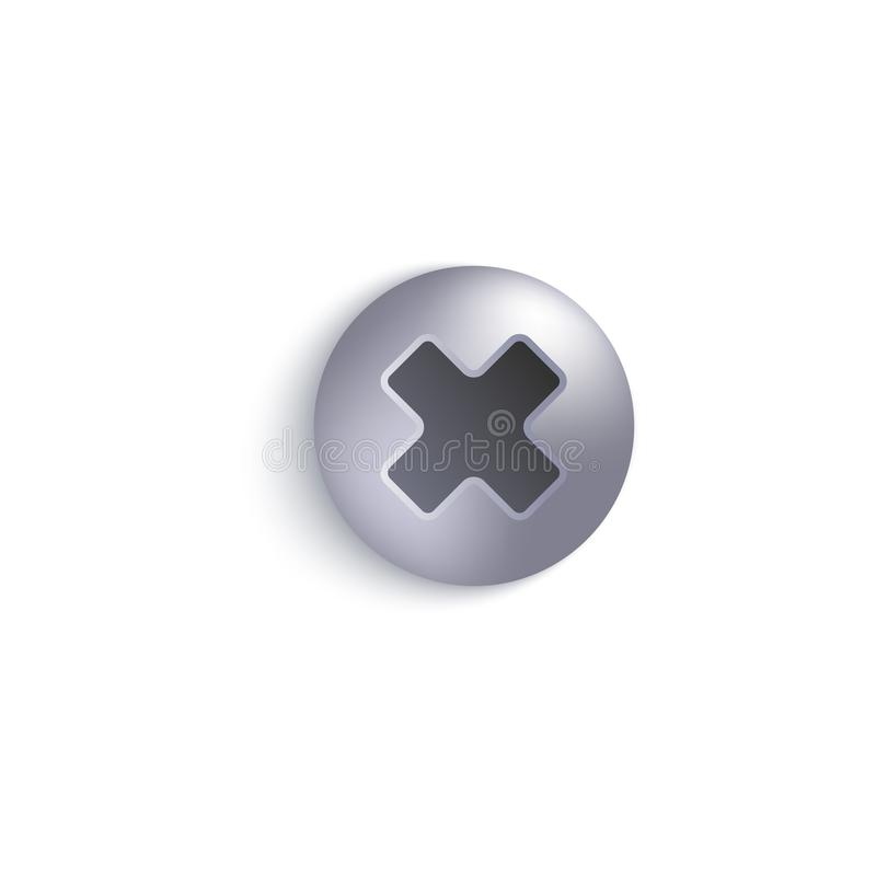 螺丝或螺栓金属3d现实传染媒介例证顶视图头隔绝了 向量例证
