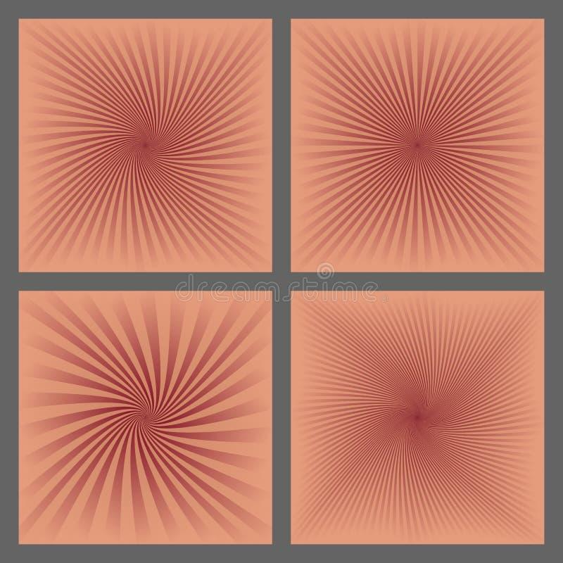 螺旋光芒和starburst背景设计集合 皇族释放例证