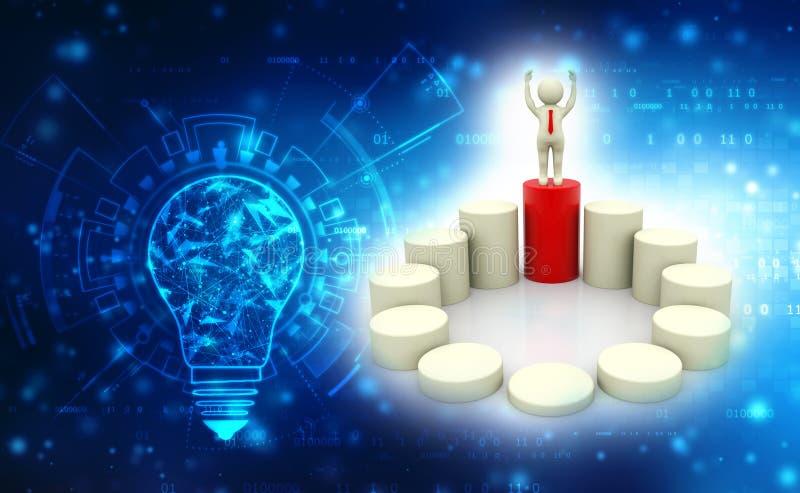 螺旋台阶的商人上面,企业成功概念 3d回报 向量例证