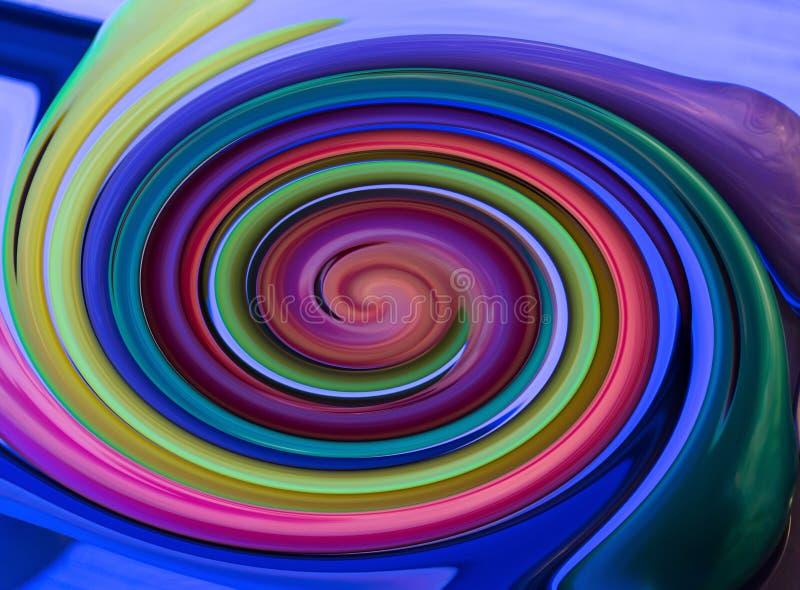 螺旋多色紫色绿色黄色旋涡摘要 皇族释放例证