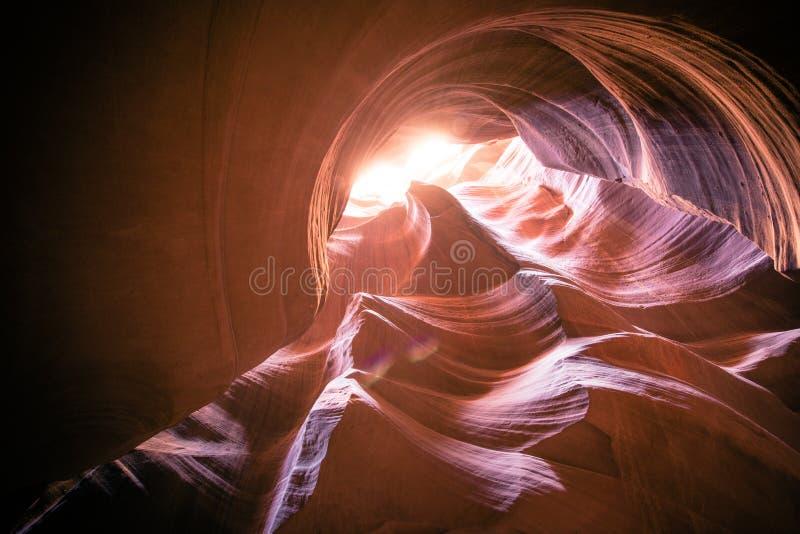螺旋岩层在羚羊峡谷亚利桑那 库存照片