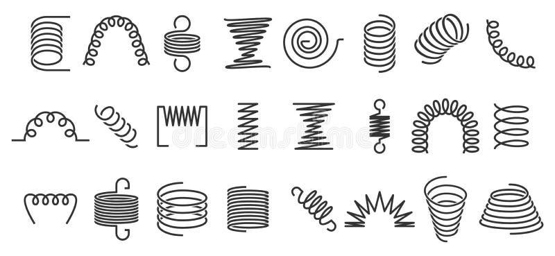 螺旋弹簧 灵活的卷、线簧和金属卷螺旋现出轮廓传染媒介象集合 向量例证