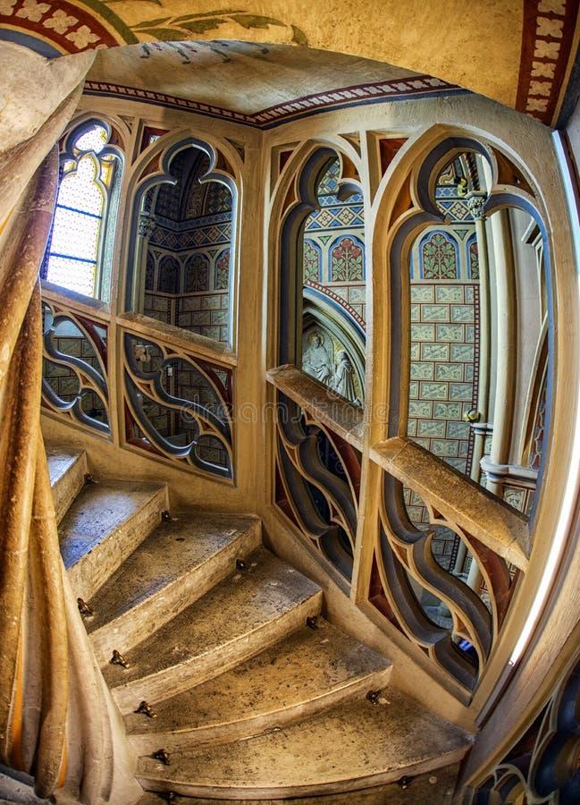 螺旋形楼梯在教会里 库存照片
