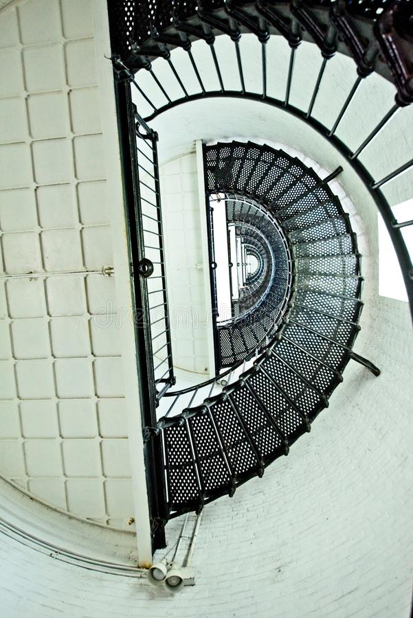 螺旋形楼梯的看法在圣奥斯丁灯塔里面的 免版税库存图片