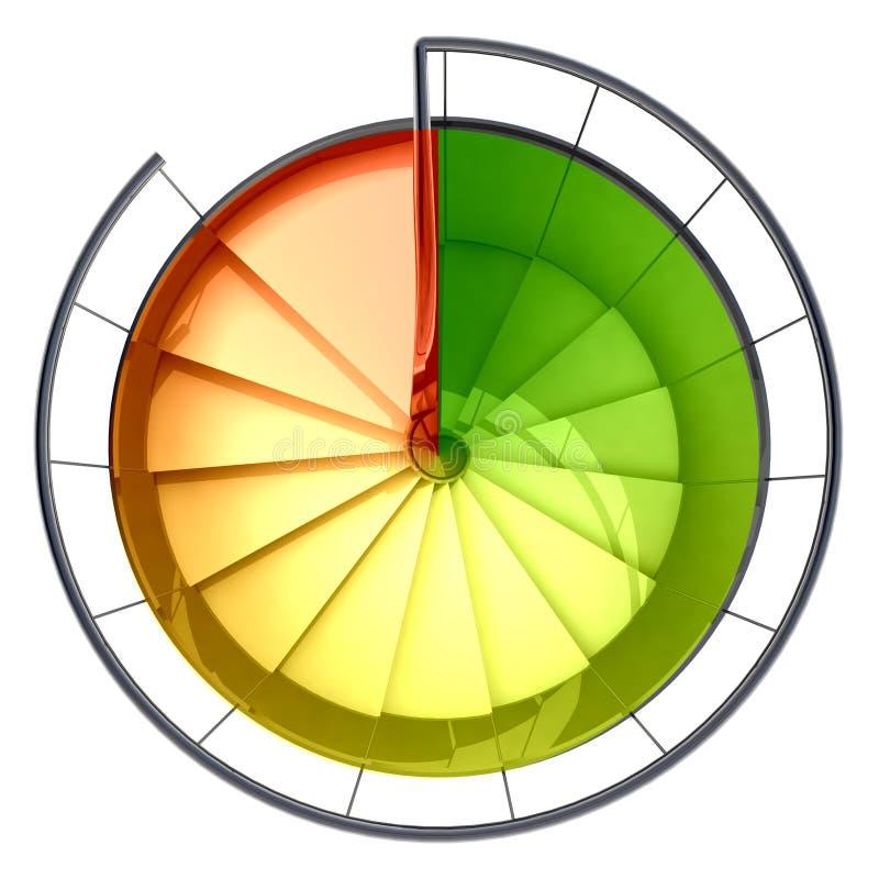 螺旋形楼梯顶视图红色绿色缩放比例 向量例证