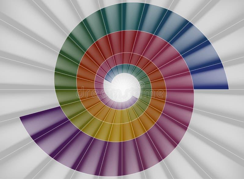 螺旋形楼梯,对光的明亮的五颜六色的隧道 库存例证