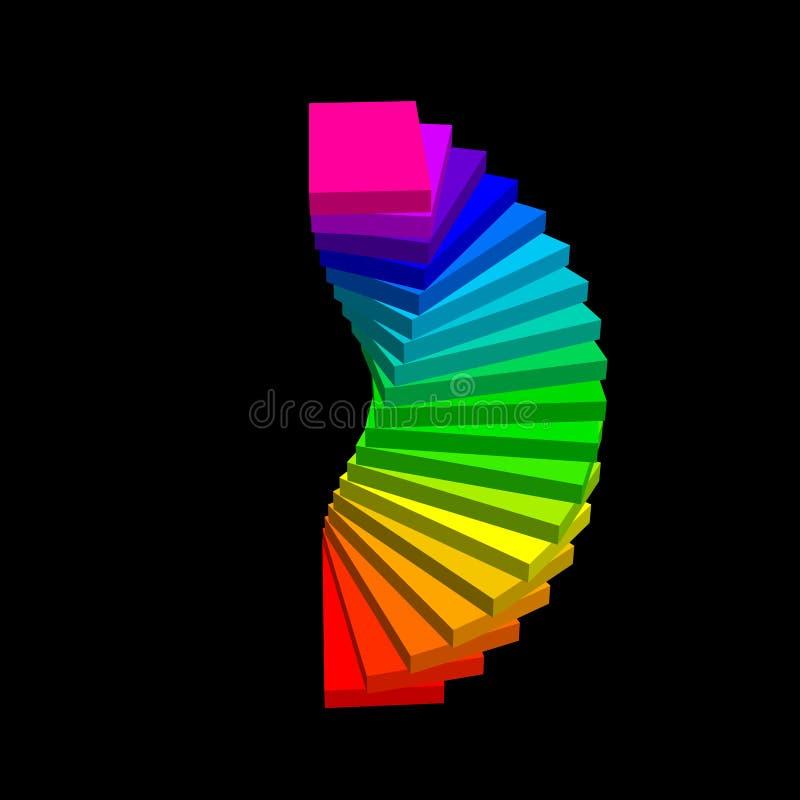 螺旋形楼梯 查出在黑色背景 3d传染媒介colorfu 库存例证