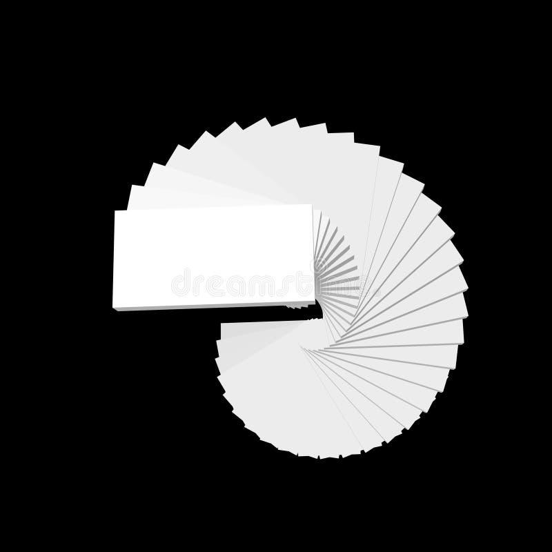 螺旋形楼梯 查出在黑色背景 3d传染媒介illustr 皇族释放例证