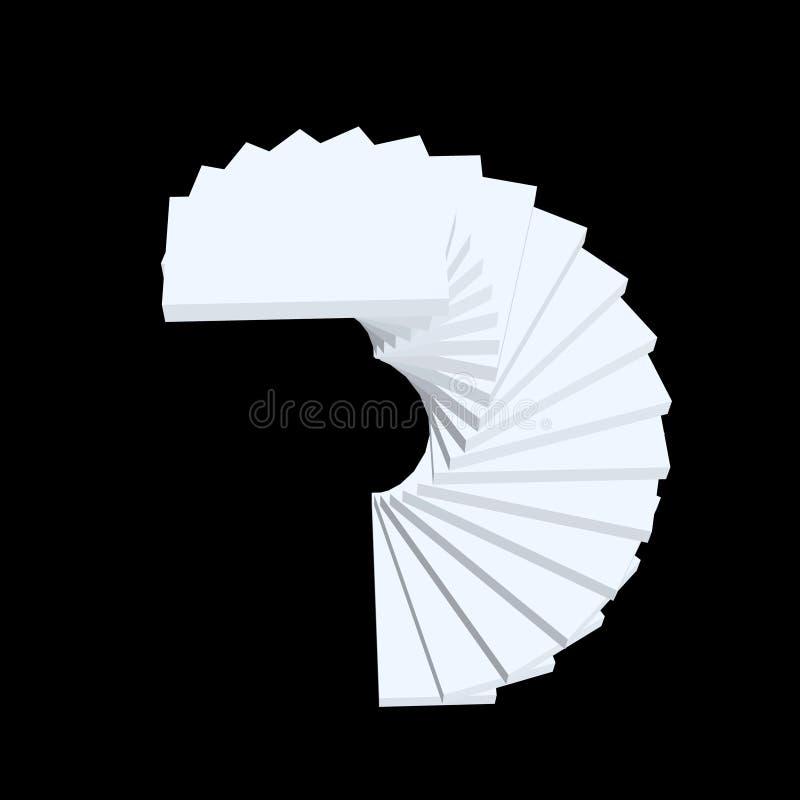 螺旋形楼梯 查出在黑色背景 3d传染媒介illustr 库存例证