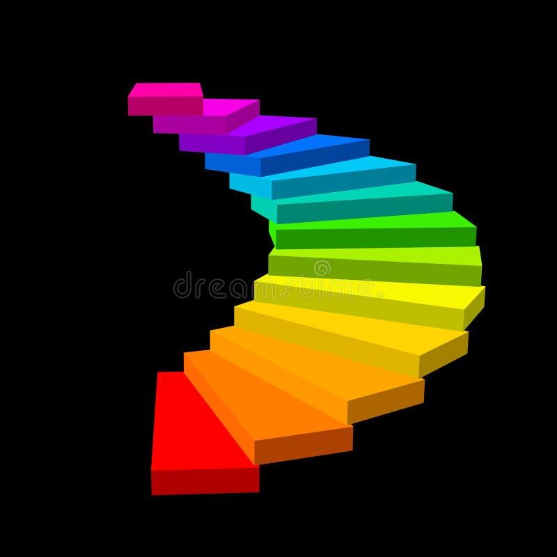 螺旋形楼梯 查出在黑色背景 3d传染媒介colorfu 向量例证