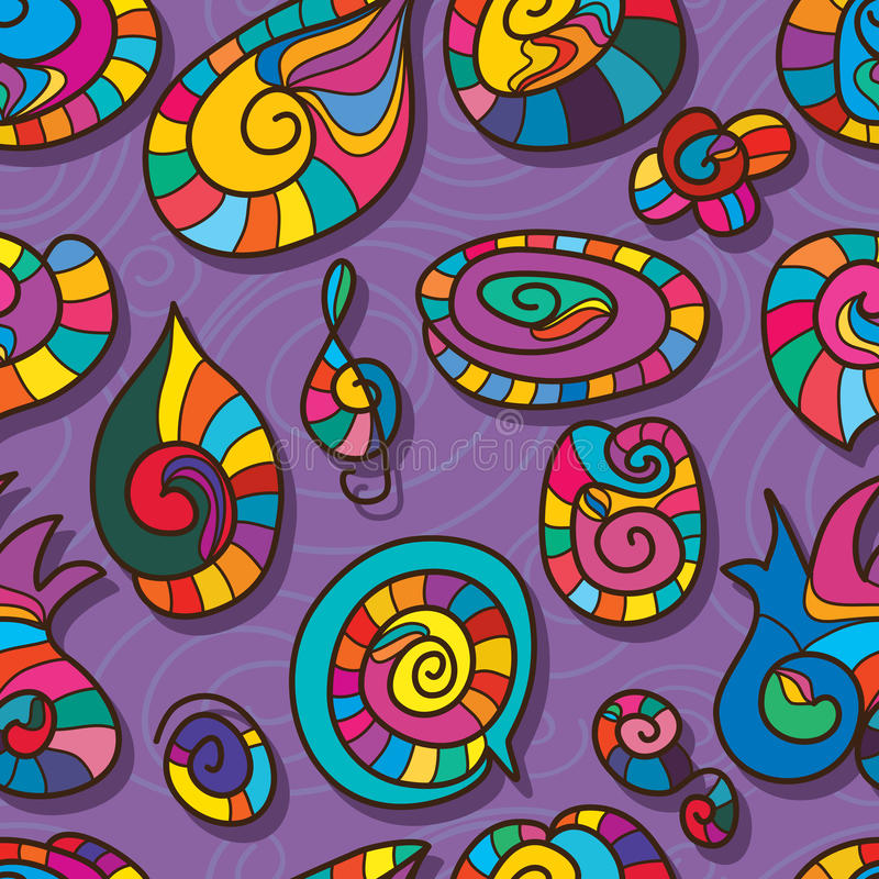 螺旋形状动画片颜色无缝的样式 皇族释放例证