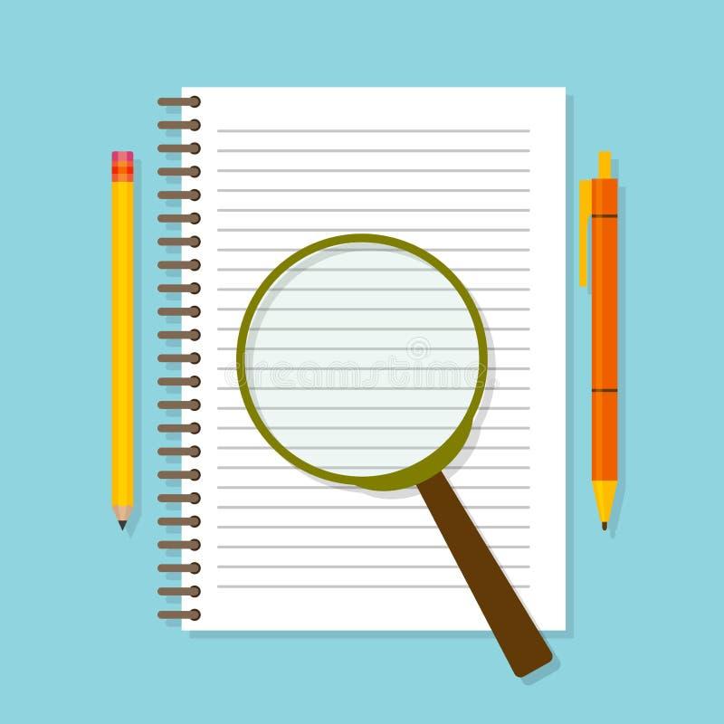 螺旋打开了与寸镜、铅笔和笔的笔记薄 顶视图 向量例证