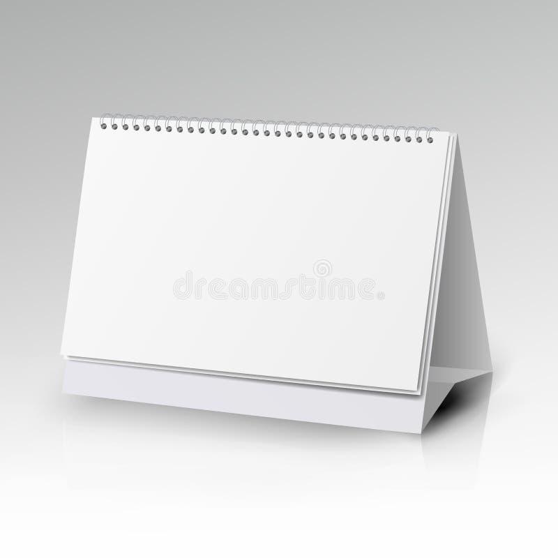 螺旋日历传染媒介模板 与空白页的垂直的表日历和与在白色bac隔绝的软的阴影的黑螺旋 向量例证
