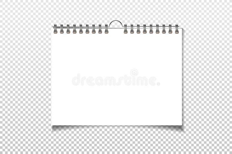 螺旋死墙日历嘲笑 在背景隔绝的白色纸片 向量 向量例证