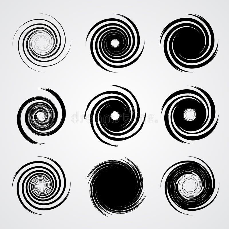 黑螺旋漩涡集合 向量例证