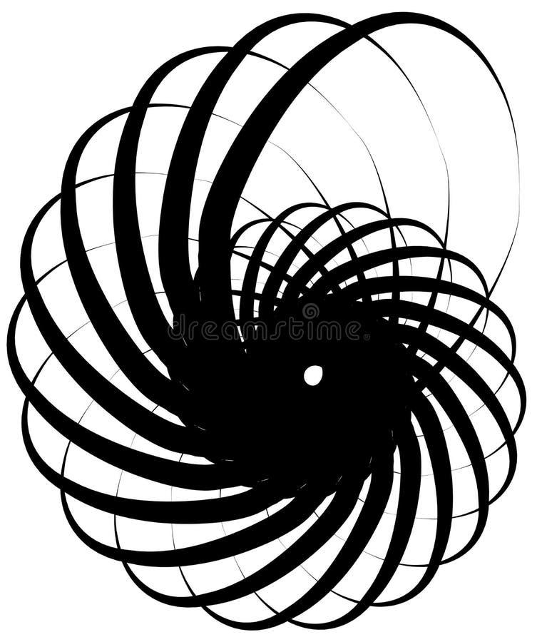 螺旋爱奥尼亚柱型,蜗牛形状,元素 转动,旋转的摘要 库存例证
