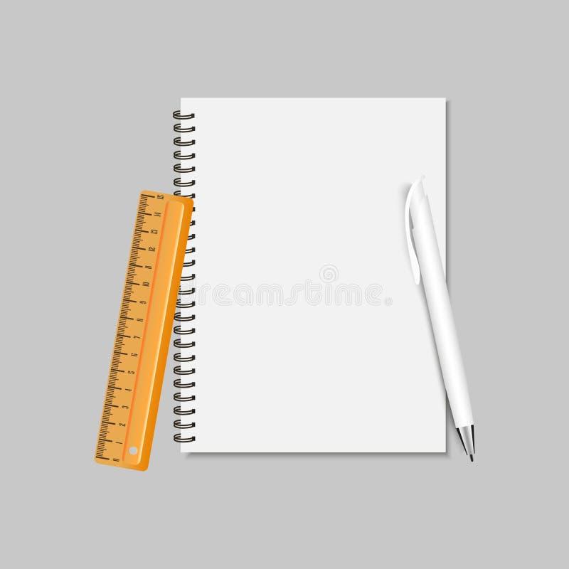 螺旋笔记本、统治者和笔 也corel凹道例证向量 库存例证
